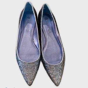 Zara Silver Glitter pointed toe Flats size 10
